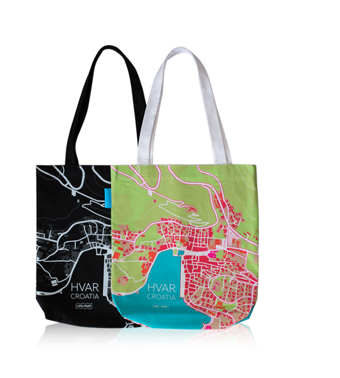 island hvar tote bag with designed map prints