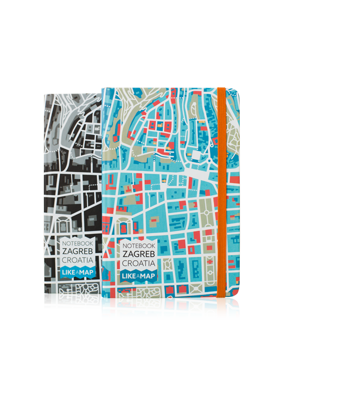 Zagreb notebook with designed map prints